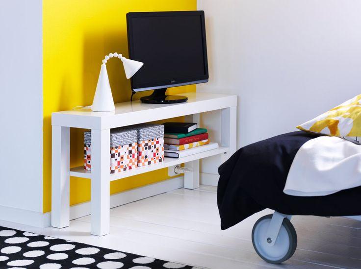 LACK narrow TV bench in white