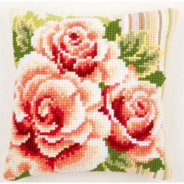 Kussen Roze rozen I borduurpakket - Vervaco
