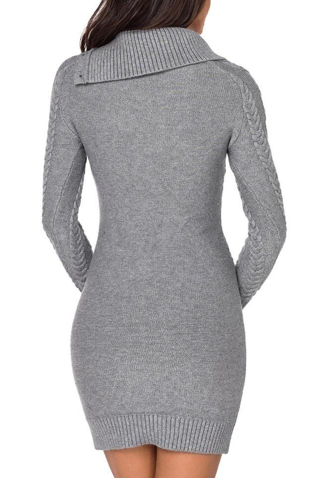 Grey Cable Knit Split Cowl Neck Sweater Dress | Cowl neck