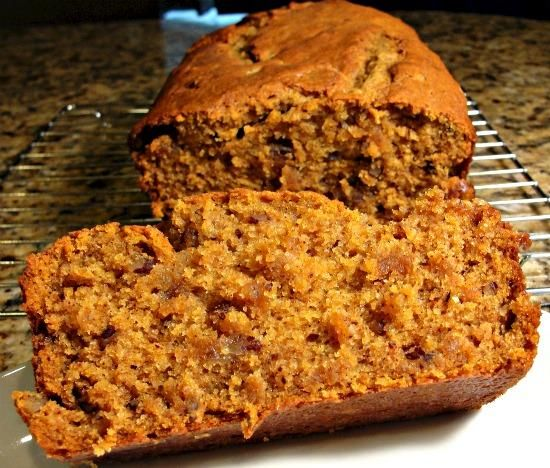 Sour Cream Pumpkin Bread.   I made this tonight with pumpkin leftover from our pumpkin creme brulee!