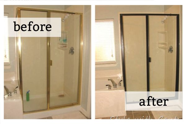Spray The Brass Shower Frame With Rustoleum Spray Paint