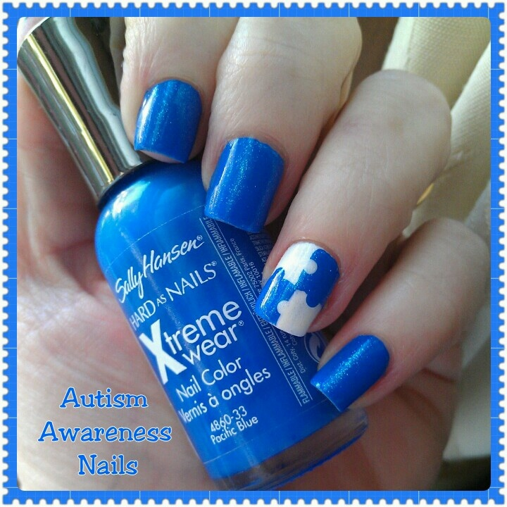 My Autism Awareness Nail Art I Did For My Son. What I Used