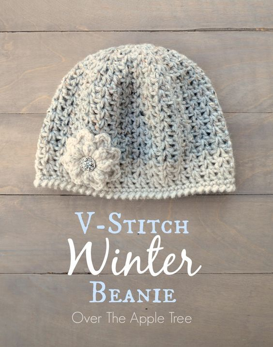 V-Stitch Winter Beanie By Laura Diaz - Free Crochet Pattern - (overtheappletree.blogspot)