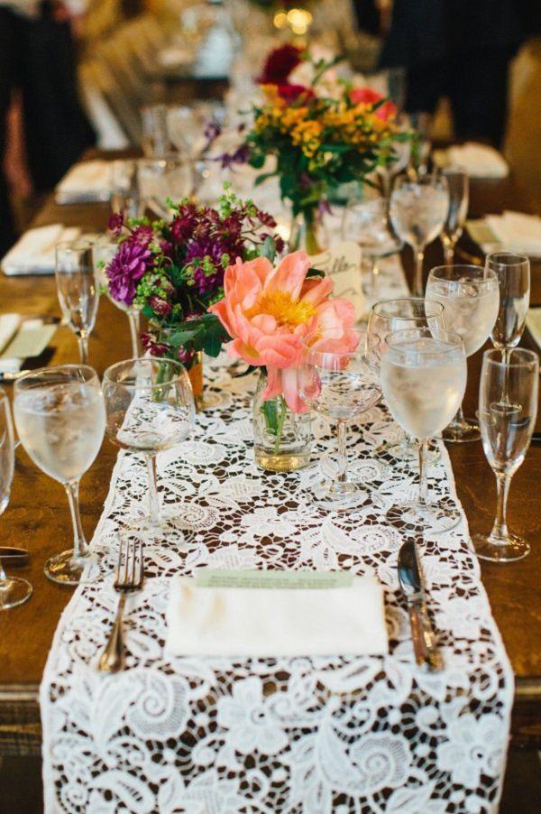 28 vintage wedding ideas for spring summer weddings wedding imageslace runnerlace table
