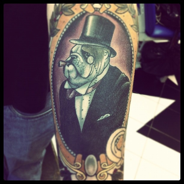 bulldog cameo frame tattoo. I want to do this to Sanders