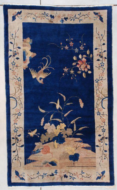 #7474 This Circa 1925 Art Deco Chinese Oriental Rug Measures 4u00272u201d X