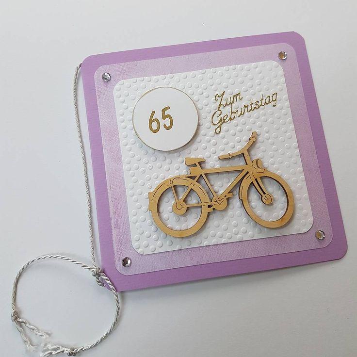 Auftragskarte mit Holzteilchen Fahrrad - zum 65 Geburtstag. #bastelnmitliebe #bastelnmachtspass #bastelnmitpapier #kartenbasteln #karte #cardmakinghobby #cardmaking #craft #geburtstagskarte #TanjaHausmann #bastelladen