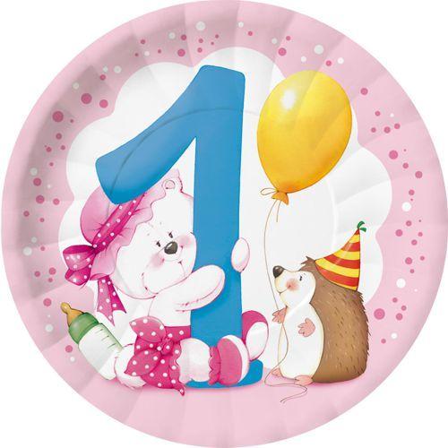 Piattini 1° compleanno bambina pz.8 BBS120681   Europarty