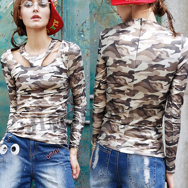 Womens Long Sleeve Shirt Camouflage Jumper Pullover T-Shirt Slim Top Blouse