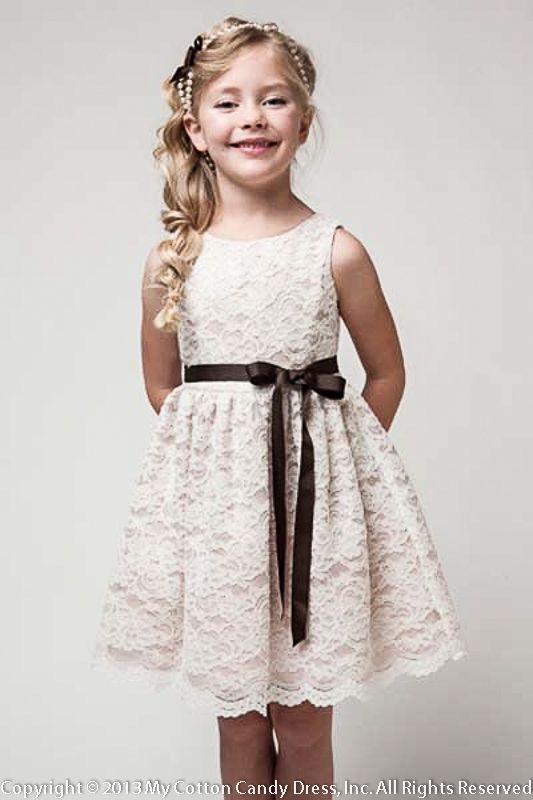 simple+lace+flower+girl+skirt | Champagne tool lace Flower Girl Dress