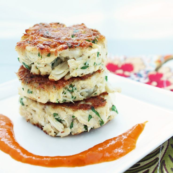 Low Carb Crab Cakes w/ Roasted Red Pepper Sauce.