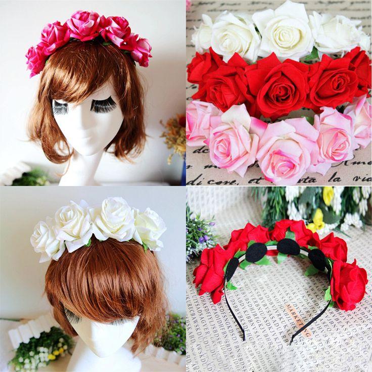 1 * Rose Floral Bunga Garland Crown Headband Hair Band Bridal Festival Liburan