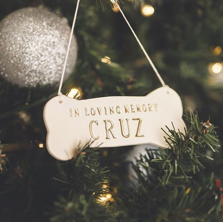 In Loving Memory - Large Personalized Dog Christmas Ornament with Name in Gold - Gift Packaged by Susabella #christmasornament #petsympathy #petmemorial