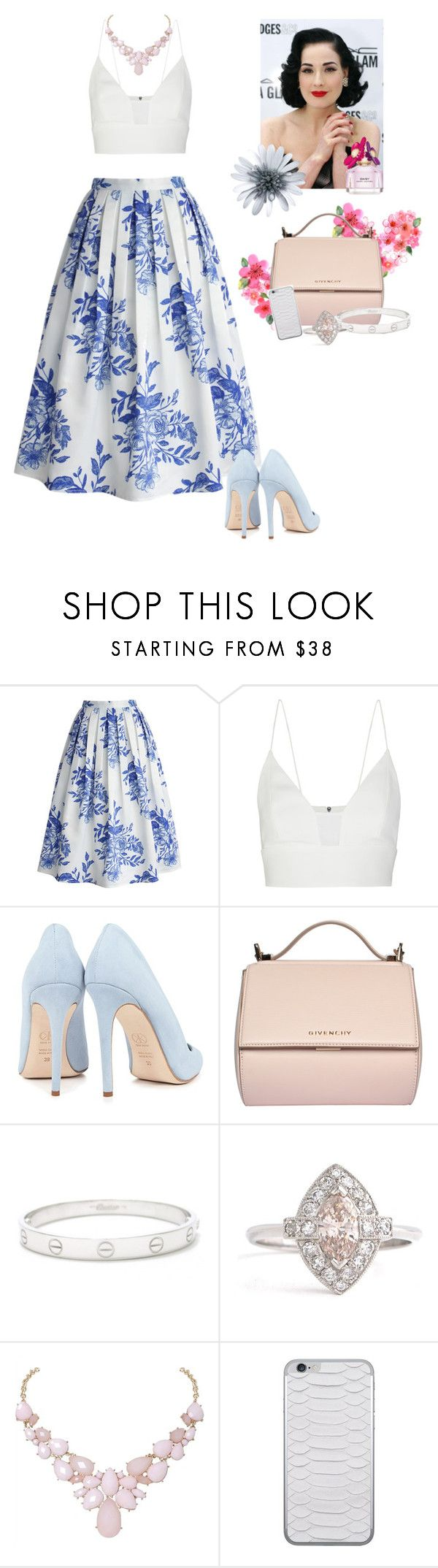 """""""The lady of the flower skirt"""" by rafa-vieira ❤ liked on Polyvore featuring Chicwish, Narciso Rodriguez, Dita Von Teese, Dee Keller, Givenchy, Cartier, Humble Chic, Jamie Clawson and Marc Jacobs"""