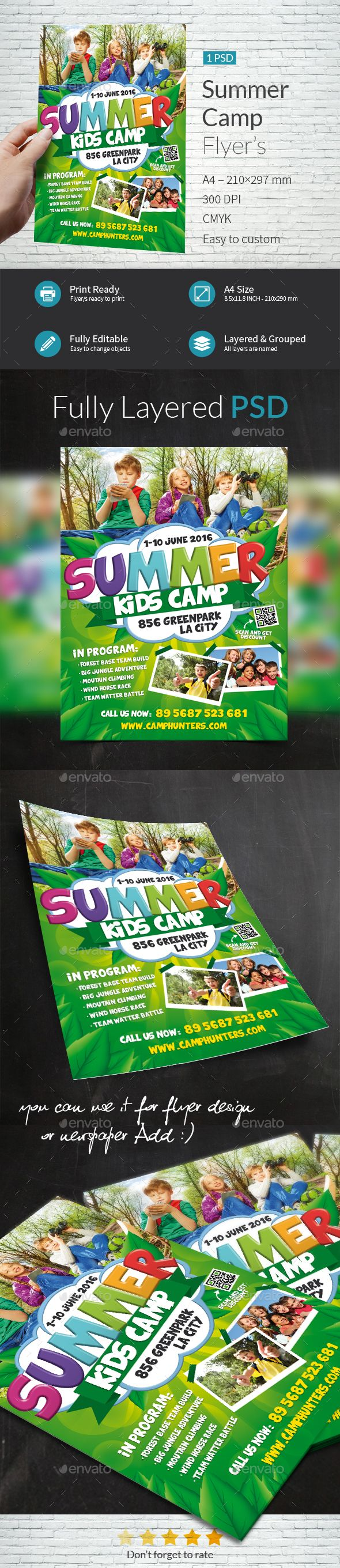 Summer Camp Flyer Template PSD. Download here: http://graphicriver.net/item/summer-camp-flyer-template/15500546?ref=ksioks