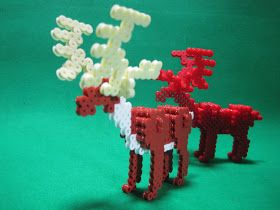 アイロンビーズでつくってみた~ I made it with iron beads ~: 【アイロンビーズ】立体トナカイをつくってみた Reindeer 3D