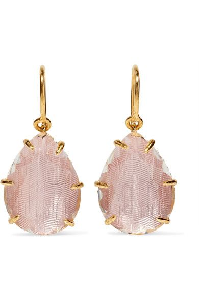 Larkspur & Hawk's elegant 'Caterina' earrings are handmade from gold-dipped sterling silver. They are set with faceted quartz that's backed with colored foil in a hue the label calls 'ballet' - the technique is inspired by 18th century jewelry-making methods. Show yours off with swept-back hair.