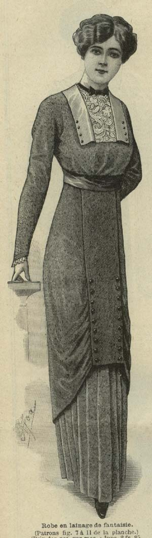 December 1912 Dress with lace placket
