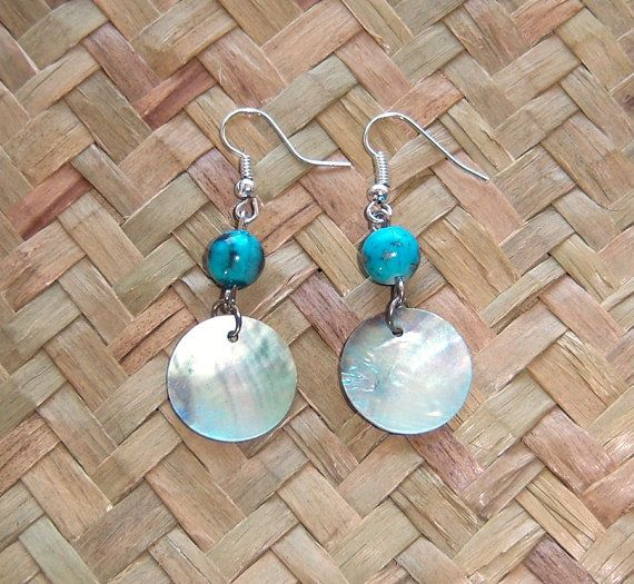 Iridescent Shell earrings by OceanicBeads on Etsy, $9.88