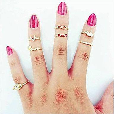mode voor vrouwen dag gift transparante strass strik midi ringen (goud) (7 stuks) – EUR € 4.79