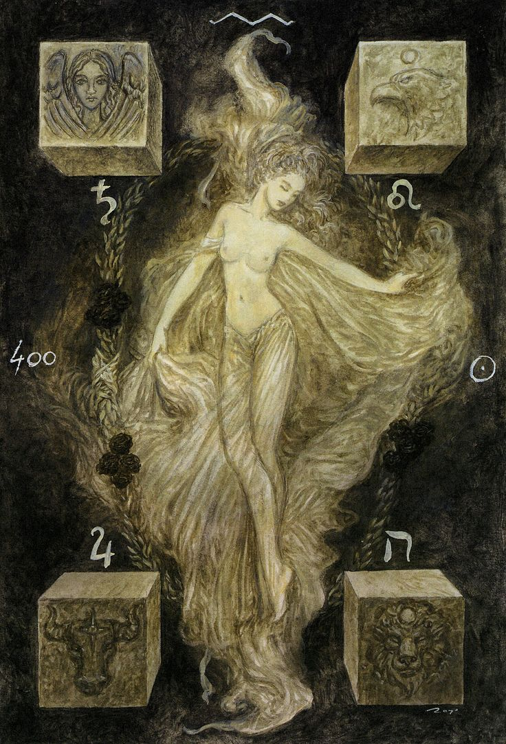 Luis Royo - The Labyrinth Tarot - Major Arcana: The World 21 / Saturn Completion, fulfillment, freedom, cosmic love, freedom from fear, reward for hard work and effort, time for celebration of self and others, feeling the world is your oyster, traveling both physically and mentally, accomplishing what you set out to achieve, discovering a solution, feeling at one with yourself and the universe.