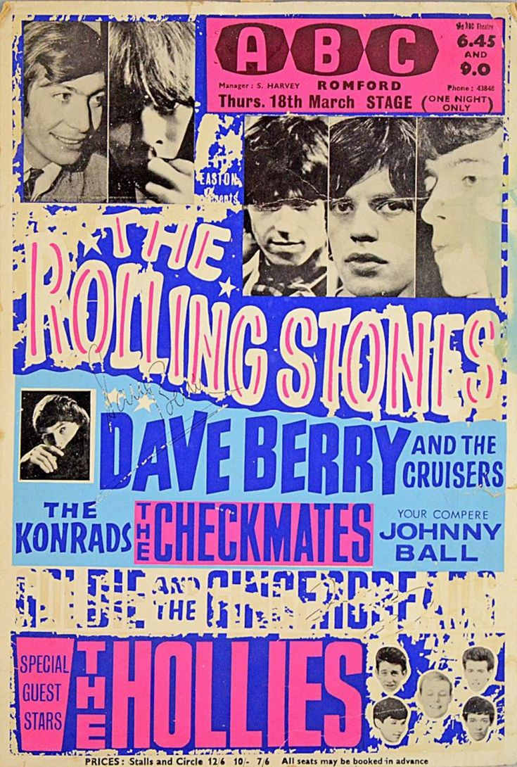 The Rolling Stones, The Hollies, etc. - U.K. concert poster - 1965.