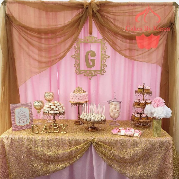 pink and gold baby shower baby shower party ideas dessert tables on catch my party baby. Black Bedroom Furniture Sets. Home Design Ideas