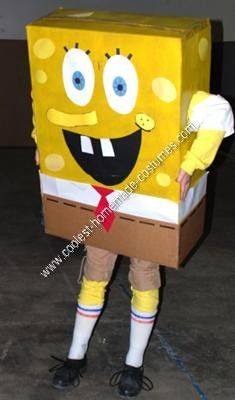 Homemade Spongebob Halloween Costume Idea: My Homemade Spongebob Halloween Costume Idea was created with:  -A large Box -Construction Paper -2 cans yellow spraypaint -rubber black shoes with attached