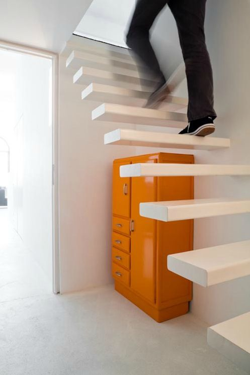 Invisible staircase: Spirals Staircases, Floating Stairs, Bruno Vanbesien, Orange Cabinets, Architecture Interiors, Invi Stairca, Stairca Cabinets, Apartment, Floating Staircases