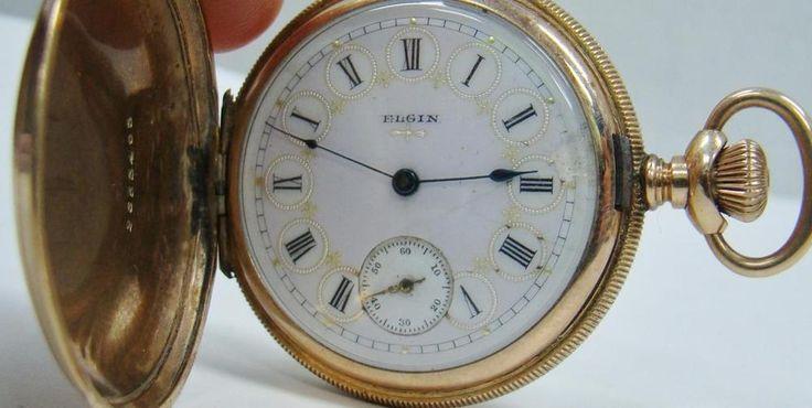 1897 VINTAGE ELGIN POCKET WATCH 7j GOLD FILLED CASE 6s NEEDS REPAIR CASE DAMAGED #ELGIN