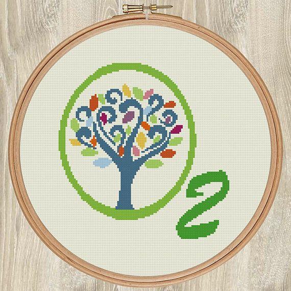 O2 TREE - environmentally themed cross stitch pattern by EarthToStitchers.