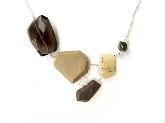 Modern Statement Necklace, Neutral Necklace, Beige Brown Necklace, Smoky Quartz Necklace, Pyrite Pendant, Neutral Jewelry, Geometric Jewelry #handmade #modernjewelry