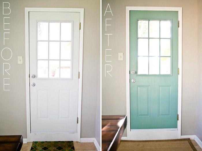 Dining Room Redo - DIY Painted Door Behr Mermaid Net Before and After
