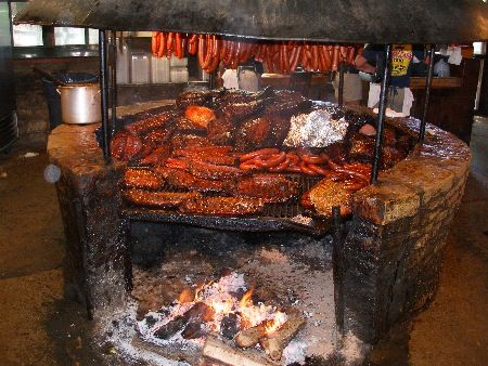 The Salt Lick located just outside of Austin in Driftwood, is famous for it's all you can eat barbeque cooked on an open pit. It was even featured on the Travel Channel's show Man vs. Food.