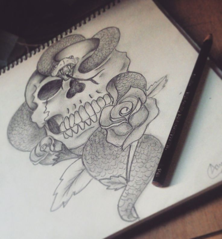 Another one of my drawings :) #drawing #sketch #pencil #pencilart #pencildrawing #instagram #skull #rose #snake #darkmark #harrypotter #voldemort #art #tattoo