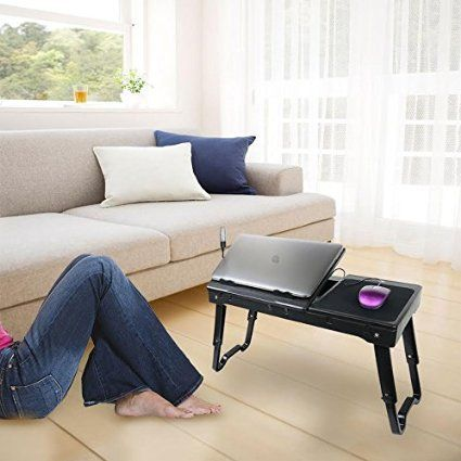 sparrow adjustable laptop table portable bed tray traveling desktop with internal cooling fan and built