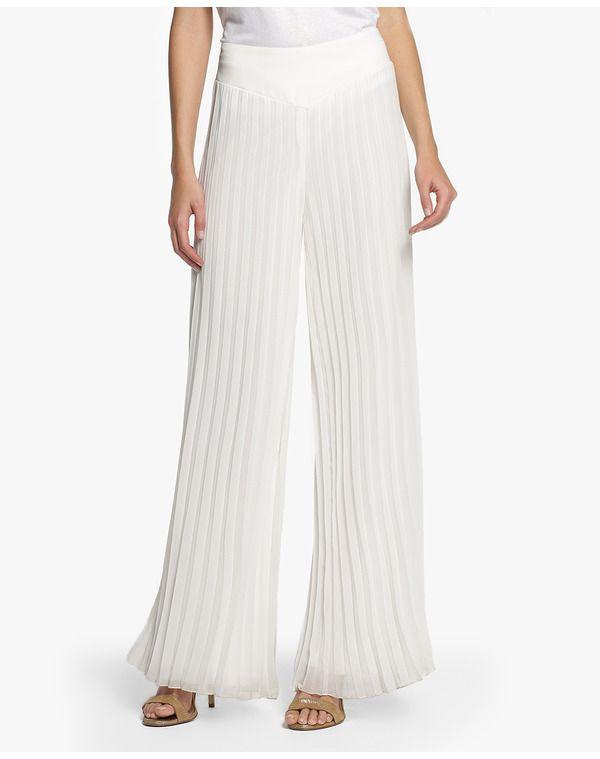 Pantalón amplio, de tipo fluído, realizado en gasa en color blanco