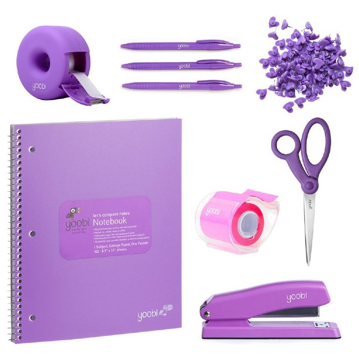 Everyone needs these desktop essentials, and what better way to do it than color coordinating AND giving back at the same time? With our Office Starter Kit in Yoobi purple, your desk will have everyth