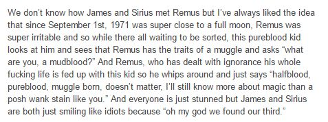 the marauders - Sirius and James then they first met with Remus Lupin