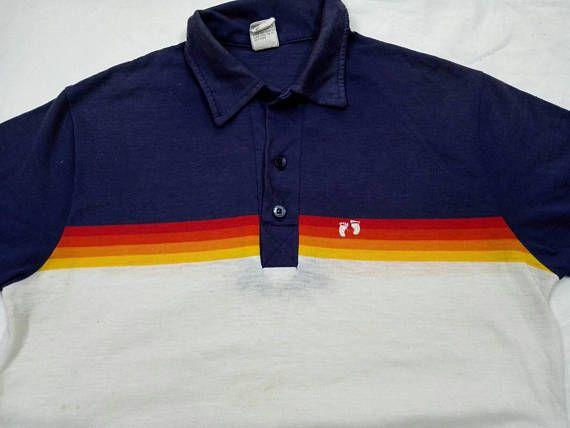 Vintage 70s 80s Hang Ten Polo Shirt Surf Hawaii Aloha Size