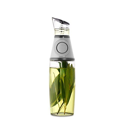 Domestic Corner - Precision No Drip Oil and Vinegar Infuser and Dispenser - Press Measure and Pour - 17 oz - Silver