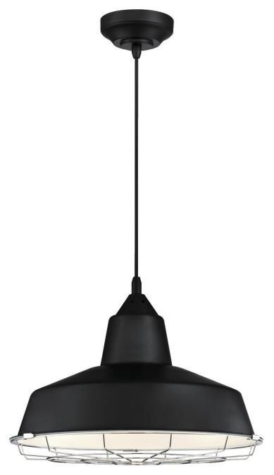 1 Light Led Pendant Black Finish With Chrome Cage 6104900 Academy Dimmable Product Specification Item