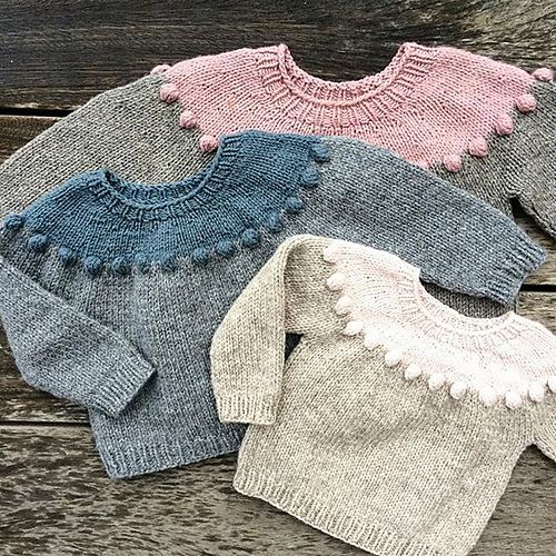 The Pearls-on-a-string Sweater is knitted in the round, from the top down.