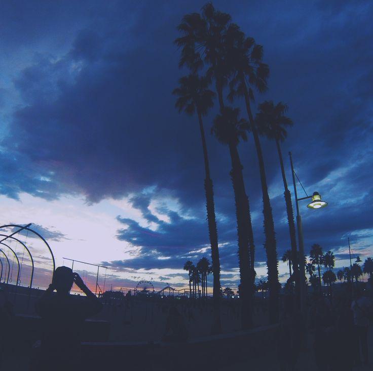 L.A. Los Angeles santa Monica beach sunset palmier nuit