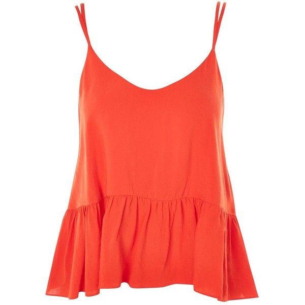 Topshop Relaxed Peplum Camisole Top (73 ILS) ❤ liked on Polyvore featuring tops, red, red cami, relaxed fit tops, topshop tops, peplum tops and red camisole top