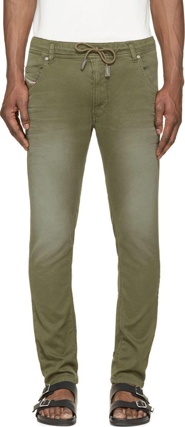 DIESEL Green Faded Krooley-Ne Jogg Jeans. #diesel #cloth #jeans