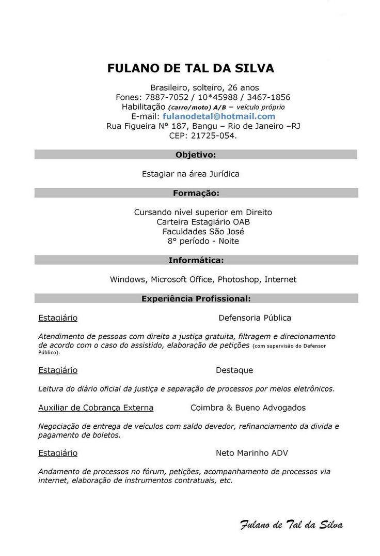 Modelo De Curriculum Simples - Modelo de Curriculum