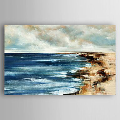 Pintados à mão Paisagens Abstratas Pinturas a óleo,Modern 1 Painel Tela Hang-painted pintura a óleo For Decoração para casa de 5239152 2016 por R$270,37