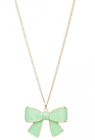 Necklace  https://sincerelysweetboutique.com/accessories/jewelry/necklaces.html #necklace #jewelry #accessory - Necklace - Girls Rule Bow Pendant Necklace in Mint