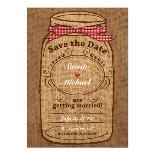 Red Gingham Amp Burlap Mason Jar Save The Date Invite